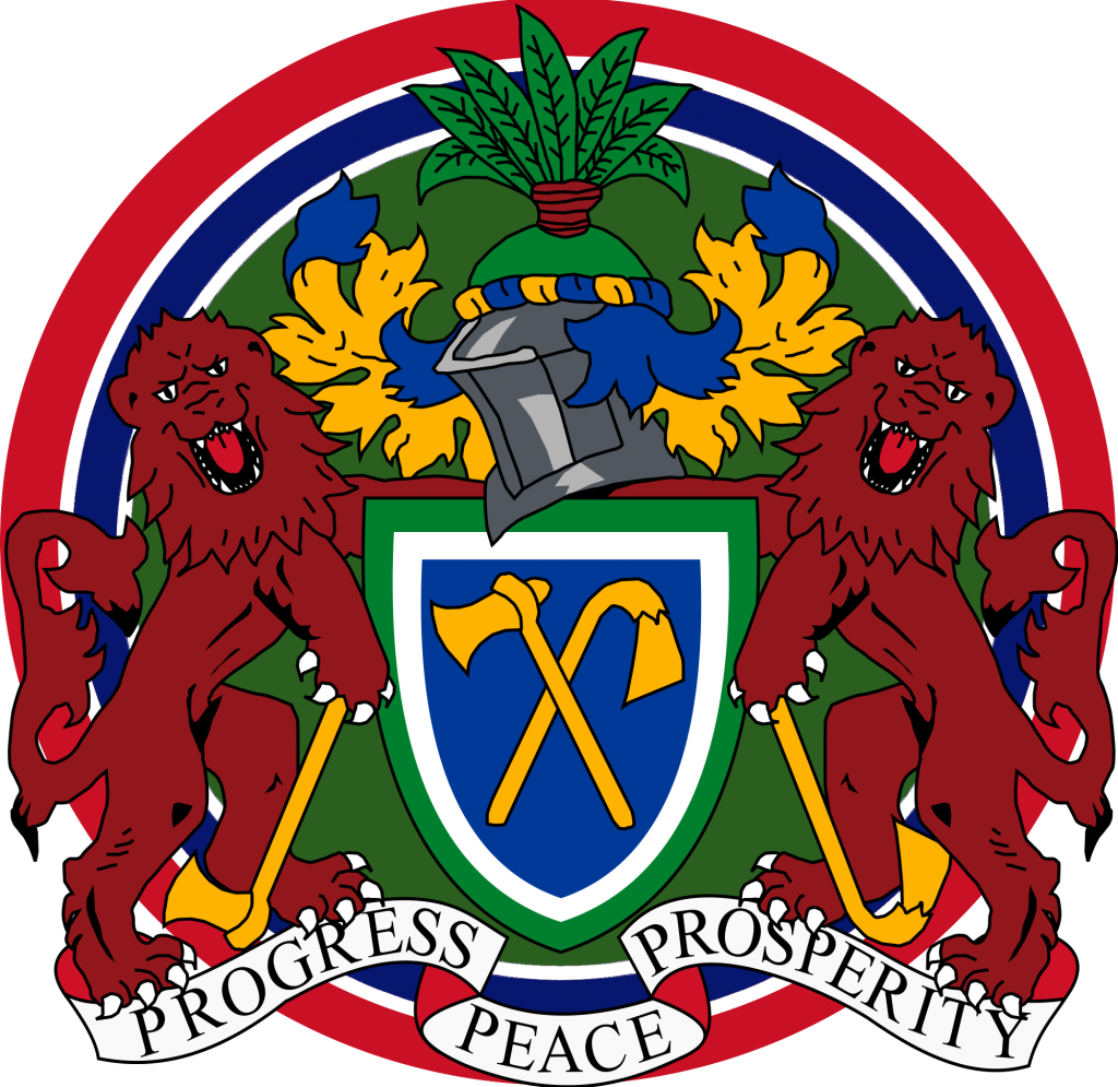 Gambia Coat of Arms with Flag